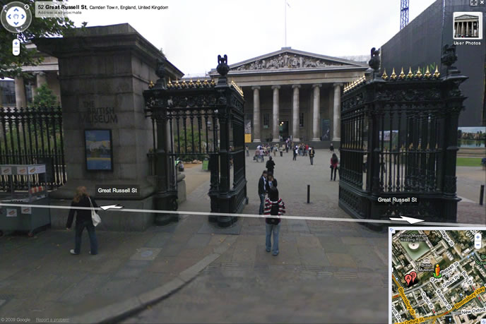 Google Maps image of British Museum in                                                         London.