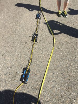 We decided to double up so we attached two sensors at each depth, 2.5m in the water, 1.5m, .5m in the water and .5m above the surface of the water.